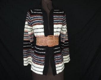space dyed boho sweater 70s bell sleeve earthy striped hippie long sweater medium