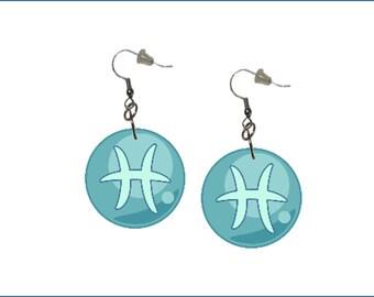Zodiac Earrings Pisces Dangle Earrings Astrology Earrings Zodiac Symbol Pisces