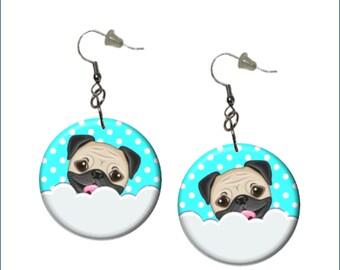 Pug Earrings Adorable Pug Earrings Aqua White Gray Earrings