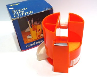 Orange Desk Organizer Vintage 1970s HOF Pen Pencil Holder Tape Dispenser in Original Box