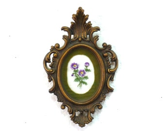 Antique Ornate oval frame gold Wall hanging, Made in Hong Kong Victorian design with hand embroidered flowers