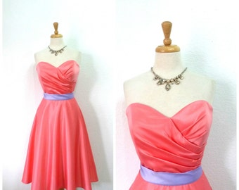 Vintage Dress Pink Sweetheart Full Skirt  Bridesmaid Wedding Cocktail Party Dress XL