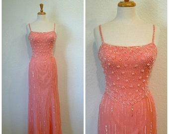 Vintage Pink Silk Dress Mermaid Beaded Sequin by Bob Mackie Prom Evening Wedding Gown
