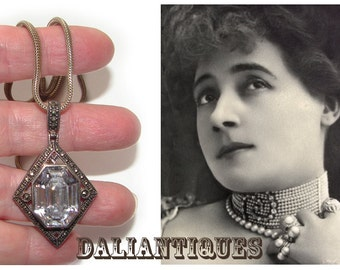 Free Shipping Edwardian Deco style Huge Rock Crystal Sterling Silver Marcasites Vintage Necklace