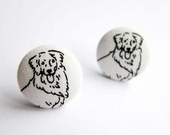 Button Earrings / Clip On Earrings / Stud Earrings - golden retriever earrings