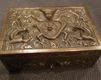 Antique Solid Brass Humidor Treasure Box 9 Dragons - Flowers & Dragonflies