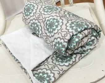 "Blanket Minky Baby 30x35"" Fancy Buttons in Grey - CHROMATICS - Art Gallery Fabric - Pat Bravo"