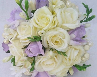 Wedding Bride Bouquet Roses, Cream, Ivory, Lavender, Lilac,Pearls, Freesia,Silk Flowers