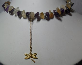 Made for Each Other - Amethyst and Citrine Necklace w/Dragonfly Dangle   8/26/2016