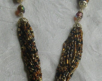 Wonderful vintage necklace multi strands of glass seed beads with crystal accent beads