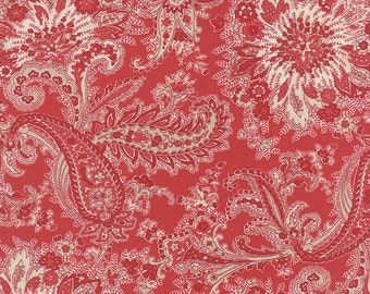 Moda Fabric MISS SCARLET Warm Red Paisley- yards