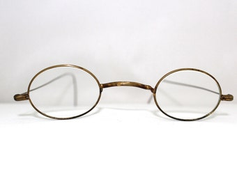Rare Antique Civil War Era Optical Eyeglasses // 1800s Victorian Gold Metal Glasses // 19th Century Antique Optical