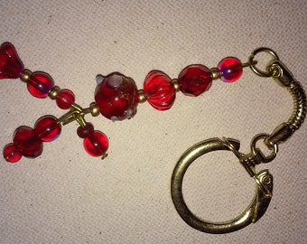 Red Beaded Keychain or Purse Charm