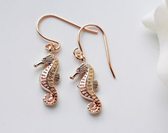 Rose Gold Seahorse Earrings Modern Nautical Marine Beach Summer