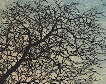 Original Mounted OOAK Woodblock Tree No. 12 Print - Hand Pulled Fine Art Print - Ready To Hang Wall Art Tree