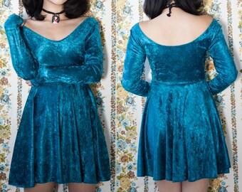 One of a Kind Blue Velvet Long Sleeve Empire Waist Babydoll Dress S