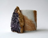 "leather cuff bracelet  -blond and white hair on hide with gilded amethyst- 2"" wide"