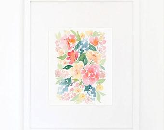 Watercolor Buttercup Peach Blush Peonies Print