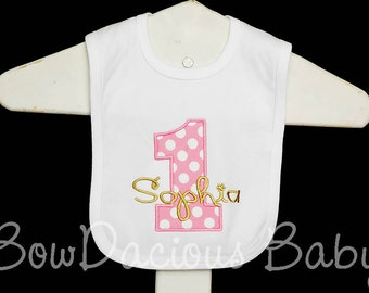 Girls 1st Birthday Bib, Personalized Birthday Bib, First Birthday Bib, Cake Smash Bib, Custom Girls Birthday Bib, Cake Smash Bib