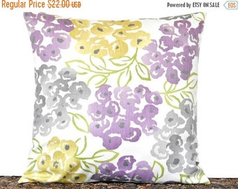 Christmas in July Sale Lilac Floral Pillow Cover Cushion Mustard Gray Green Modern Spring Designer Decorative 16x16