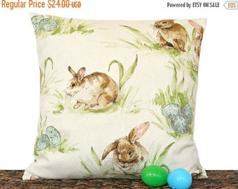 Christmas in July Sale Easter Bunny Pillow Cover Cushion Eggs Brown Turquoise Green Ivory Beige Decorative Repurposed 16x16