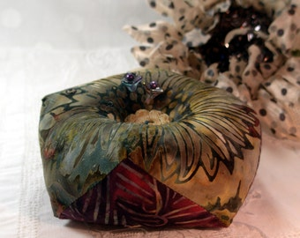 Pincushion, Biscornu, Batik Sunflower, Double sided with emery- Made to Order