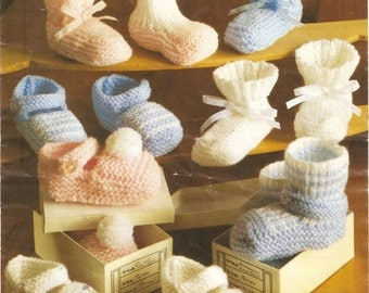 Baby's shoes and bootees knitting pattern. Instant PDF download!