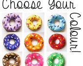 Choose Your Colour Doughnut Cushion with Colourful Icing and Sprinkles Pillow Decoration Felt Donut Fun Novelty Gift Ring Kids Room