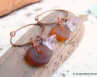 FOR HER - Earrings with genuine brown beach glass from Amalfi Coast and handmade copper earwire