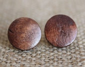 Dark Wood Earrings | Simple Wooden Stud Earrings | Dark Brown Wood Earring Studs | Wood Bead Jewelry