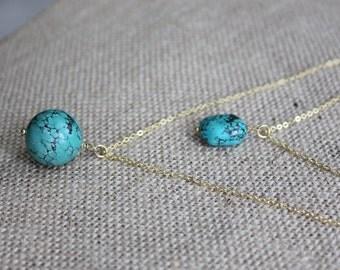 Raw Turquoise & Gold Layered Necklaces, Turquoise Stone Pendant Multi-strand Necklace, Turquoise Jewelry