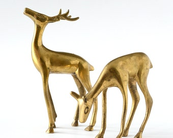 Vintage Brass Deer Pair Holiday Decor Hollywood Regency Doe and Buck