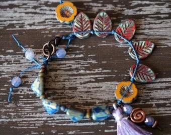 Ethnic Tassel Bracelet - Yellow and Navy Bracelet - Boho Bracelet - Tile Bracelet - Bead Soup Jewelry