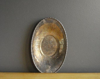 Vintage Silver Tray - Mini Oval Silverplate Platter or Serving Tray