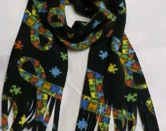 Black Autism Awareness Scarf