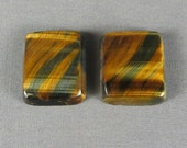 Blue Tiger Eye nice chatoyant variegated blue and golden cabochon pair