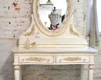 Painted Cottage Chic Shabby Romantic French Vanity and Mirror VAN704