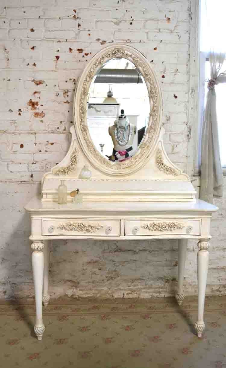 painted cottage chic shabby vanity and mirror 24099