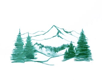 minimalist watercolor print: Curtain Mountain