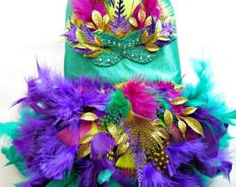 Dog Dress Mardi Gras Feather Harness Dress