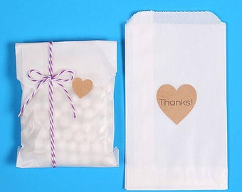 Small Glassine Bags, Glassine Paper Favor Bags, Cookie Bags, 1/4 Pound Candy Bag, Candy Buffet Bags, Wedding Favor Bags, Sweet Bags (50)