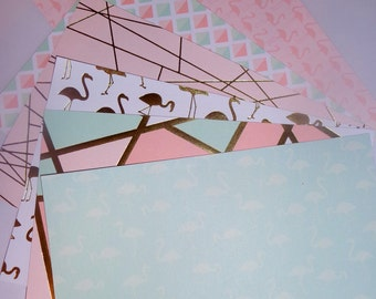 Flamingo pink and mint greens scrap booking card stock
