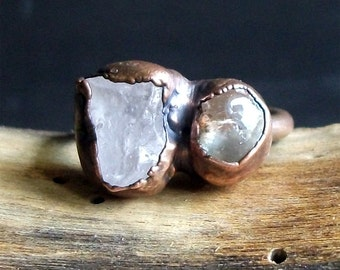 Morganite Ring Dual Stone Copper Ring Gemstone Ring Raw Crystal Ring Beryl Ring Size 7 Rough Stone Jewelry