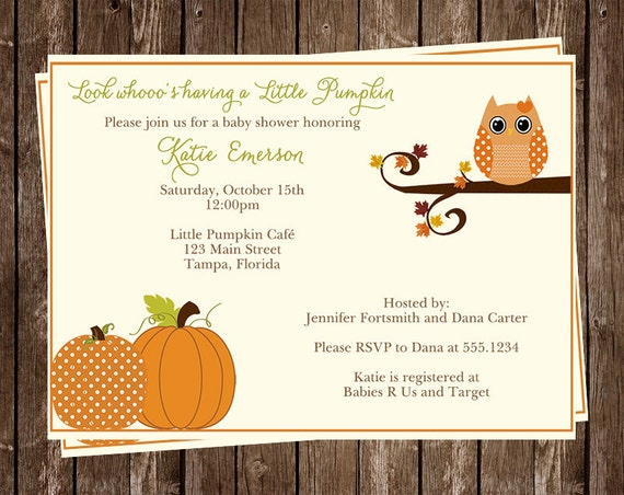 Autumn Baby Shower Invitations, Owl, Girl, Pumpkins, Little Pumpkin, Fall, Orange, Set of 10 Printed Cards, FREE Shipping, AAHPK, Hoot Girls