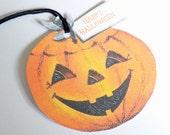 Retro Jack O Lantern - Halloween Tags - Set of 3 - Retro Pumpkin Tag - Gift Tags - Retro Halloween - Orange  And Black - 1950's Halloween