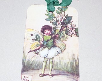May Fairy Tags - Set Of 4 - Vintage Fairy - Gift Tags - Fantasy Tags - Flower Fairy - Thank Yous - Spring Fairy - Flower Tags