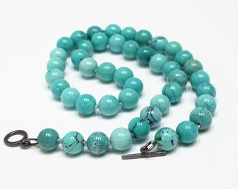 Turquoise Necklace 10mm Round Handstrung Artisan Clasp Sterling