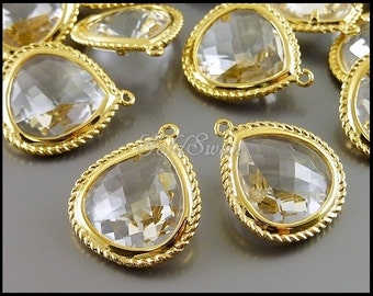 2 faceted teardrop shape clear crystal glass stones in rope frame setting, glass pendants 5146G-CL