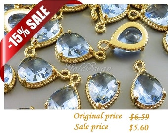 15% off / 2 light steel blue glass stone pendants with rope rim, bridal / wedding jewelry supplies 5054G-LSB