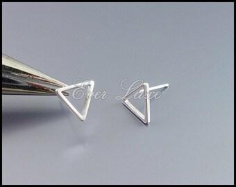 4 matte silver small simple 10mm triangle stud earrings, earring making, triangle earrings, triangle jewelry, earrings 1068-MR-10